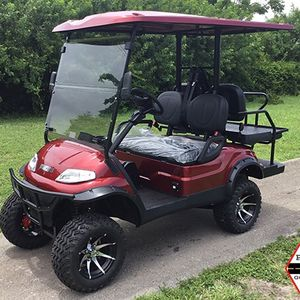 ADVANCED EV CANDY APPLE 4 PASSENGER ADVANCED EV LIFTED LSV STREET LEGAL GOLF CART FAST LUX AC MOTOR 2YR WARRANTY TROJAN BATTERY FLIP SEAT.ALOY RIM for Sale in West Palm Beach, FL