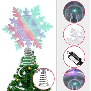 Snowflake Christmas Tree Topper with Multicolor LED Lights for Sale in Katy, TX