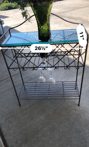 Wine / baker's rack with thick glass, dark bronze finish for Sale in Mukilteo, WA
