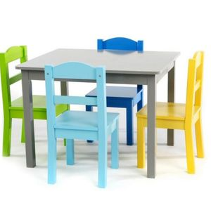 Tot Tutors Elements 5-Piece Grey/Multi Kids Table and Chair Set for Sale in Grand Prairie, TX