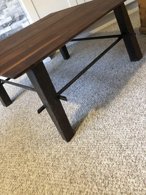 Walnut Wood Coffee Table With Steel Legs