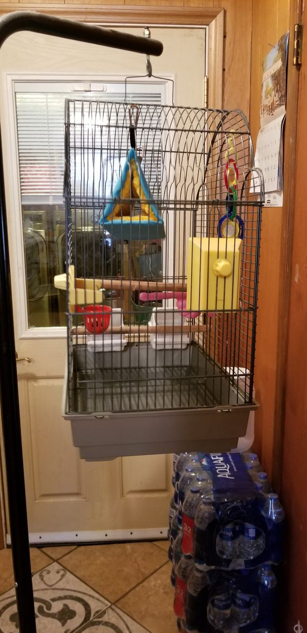Bird cage with accessories and Tubular Steel Hanging Bird Cage Stand