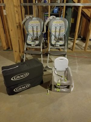 High chairs, Pack n Plays, and Travel booster seats for Sale in Acworth, GA