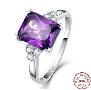 Stamped 925 Sterling Silver Amethyst and White Topaz Ring for Sale in Wichita, KS