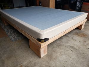 Queen Solid wood bed frame with box spring if needed for Sale in Lynnwood, WA