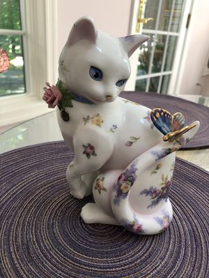 "Danbury Mint Porcelain Cat Figurine Sculpture ""Fascination"" by Lena Liu for Sale in Silver Spring, MD"