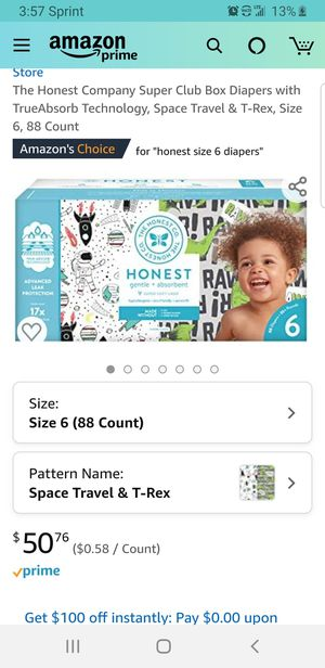 The Honest Company Super Club Box Diapers with TrueAbsorb Technology, Space Travel & T-Rex, Size 6, 88 Count for Sale in Clovis, CA