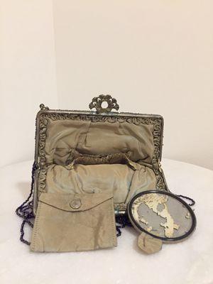 Rare purple carnival glass micro beaded Victorian purse with original mirror and pill case for Sale in Richmond, VA