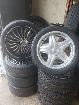 20 inch Black n Machined rims n tires for Sale in Groveport, OH