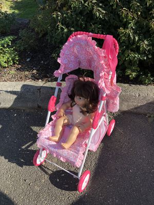 American Girl items - Stroller (bitty baby) clothes/ female twin doll - diaper bag - size 10 (for human) hoodie / Daybed etc - will sell all for de for Sale in Bellevue, WA