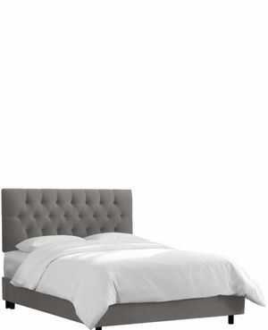 Grey Queen Tufted headboard and frame for Sale in Chicago, IL