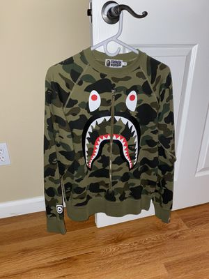 Bape 1st camo metal zip shark camo crewneck for Sale in Victorville, CA