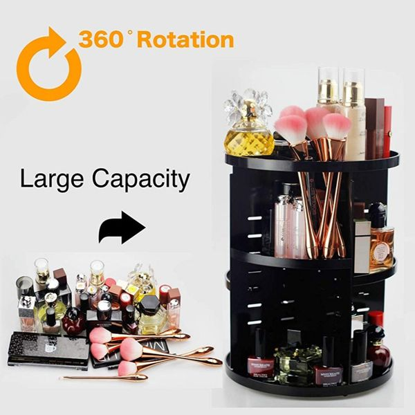 Large 360 Degree Rotating Adjustable Acrylic Cosmetic Storage,Makeup Organizer