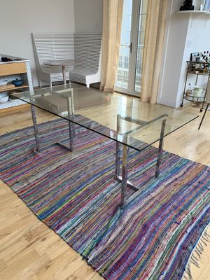 CB2 glass and Chrome Silverado Dining Table for Sale in Brooklyn, NY