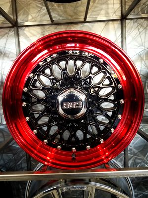 15x7 red and black rims 4x100 fits civic Sentra versa miata wheels et20 for Sale in Tempe, AZ