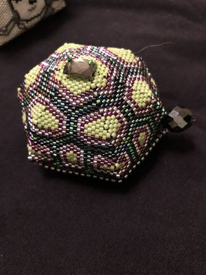 Handbeaded turtle box with top. Unique and cute for Sale in Eugene, OR