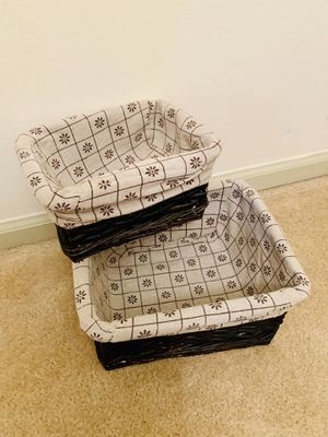 Set of 2 Pottery Barn Nesting Woven Wood Baskets for Sale in Alexandria, VA