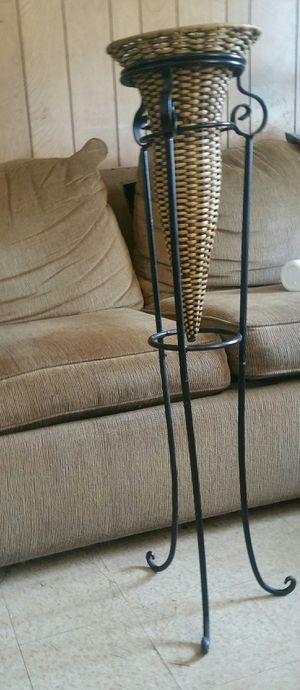 Wrought iron stand with rattan vase for Sale in Lancaster, OH