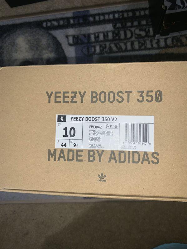 Adidas Yeezy Citrin 350 sz 10 Brand New