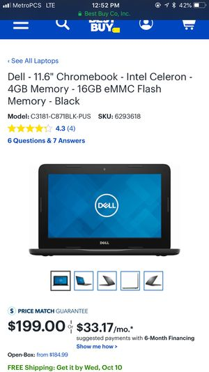 Dell 11.6 chrome book laptop for Sale in Los Angeles, CA