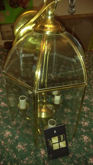 Chandelier 3 bulbs glass n brass for Sale in High Point, NC