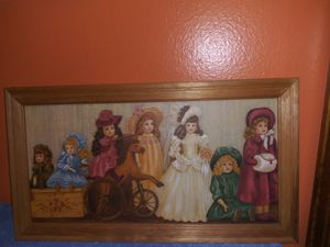 """Vintage Victorian Doll Picture , Girls Room Picture . Perfect For A Nursery Or Little Girls Room. Has A Natural Shabby Chic Look. 23"""" x 12.75"""" for Sale in Spring Hill, FL"""