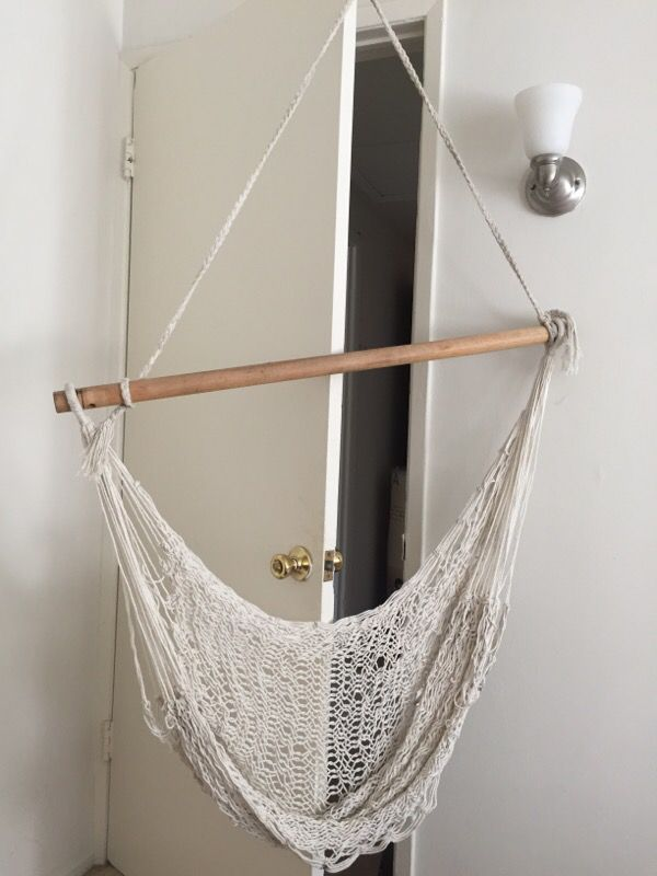 Hammock chair extends to stretch legs
