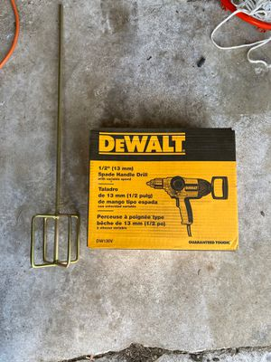 Dewalt spade handle drill with paddle mixer for Sale in Worcester, MA