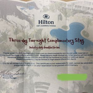 Hilton Fort Lauderdale Marina - 3 Day 2 Night Hotel Certificate for Sale in Pompano Beach, FL