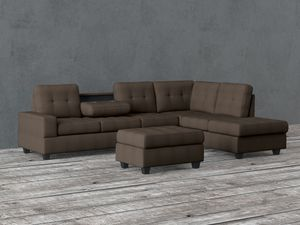 Dark Brown Sectional with cup holder in arm rest. for Sale in Montgomery, AL