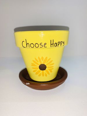 Yellow flower hand painted flower pot for Sale in Los Angeles, CA