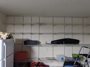 Garage shelving, white metal for Sale in Euless, TX