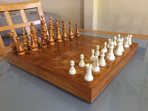 Vintage Wood Folding Board-Box Chess Set. for Sale in Miami, FL