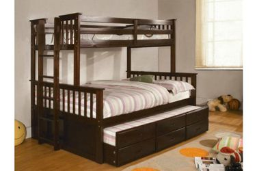 Brand New Espresso Twin Over Full Bunk Bed w Trundle Bed + Drawers for Sale in El Monte,  CA