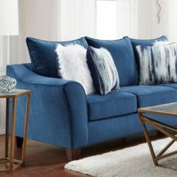 Velour navy sofa and loveseat for Sale in Houston,  TX