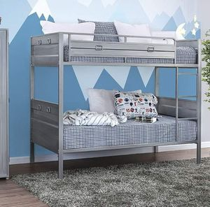 INDUSTRIAL SILVER FINISH TWIN OVER TWIN SIZE BUNK BED / CAMA LITERA GRIS SENCILLA for Sale in Riverside, CA