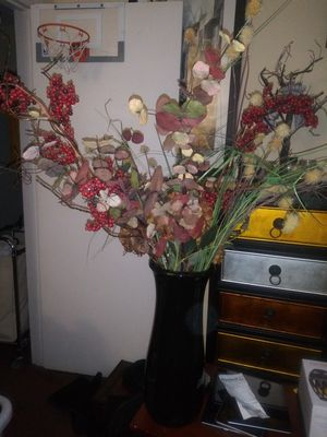 Tall vase with artificial flower for Sale in Decatur, GA
