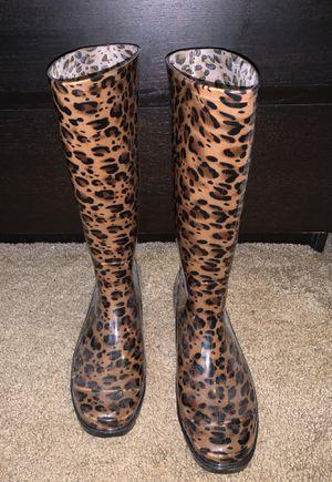 Leopard rain boots size 9 for Sale in Riverside, CA