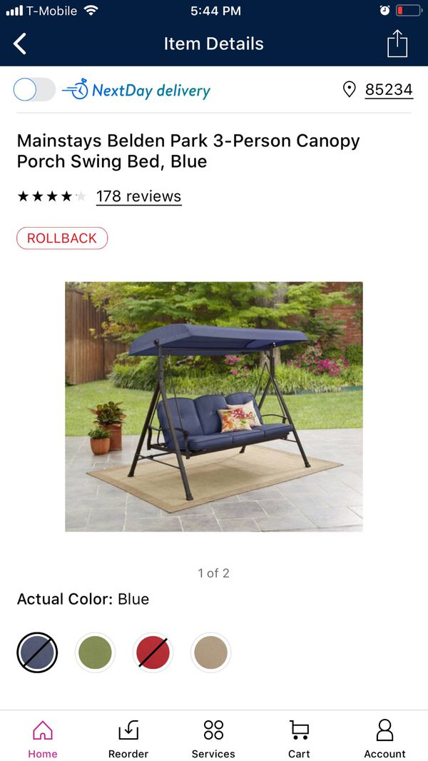 Mainstays Belden Park 3-Person Canopy Porch Swing Bed - Blue