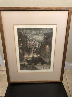 Hand colored etching artist proof signed for Sale in FL, US