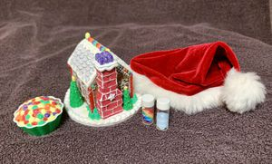 American Girl Doll Gingerbread House set and Santa hat for doll for Sale in St. Louis, MO