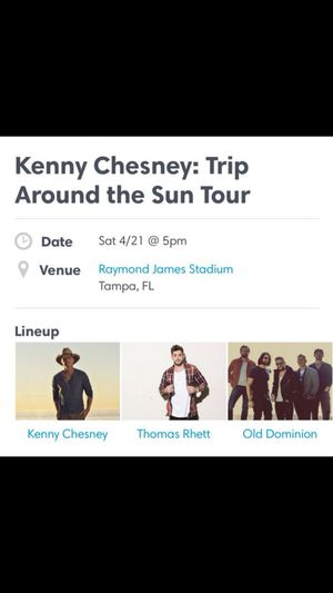 Kenny Chesney concert 4/21 for Sale in Tampa, FL