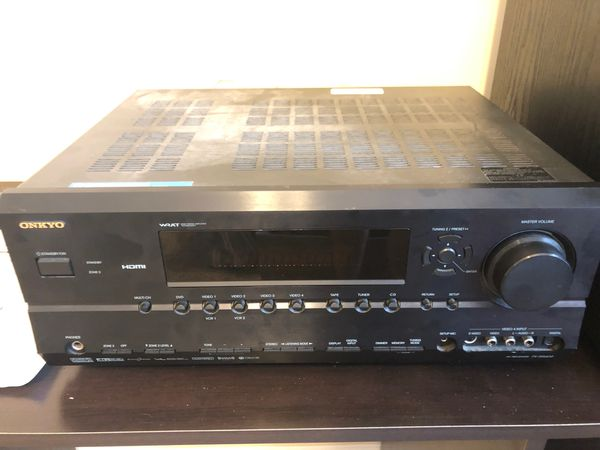Onkyo TX-SR602 home theatre receiver with remote and subwoofer