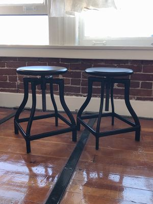 West Elm industrial style iron stools black for Sale in Los Angeles, CA
