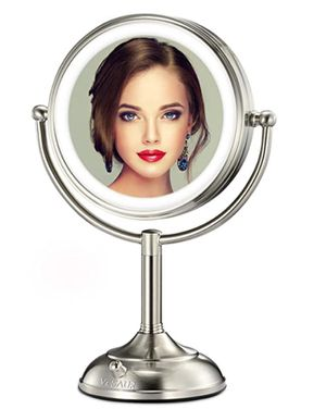 "VESAUR Professional 7.5"" Lighted Makeup Mirror, 10X Magnifying Vanity Mirror with 28 Medical LED Lights, Senior Pearl Nickel Cosmetic Mirror, Brightn for Sale in Las Vegas, NV"