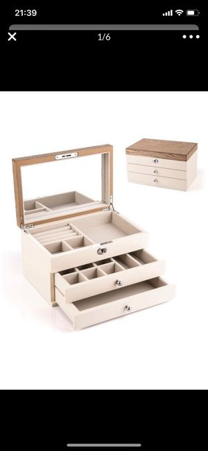 Brand new Wooden Jewelry Organizer Box,Lockable Mirrored Jewelry Storage Case for Necklaces Bracelets Earrings Rings Watches - Beige for Sale in Hayward, CA