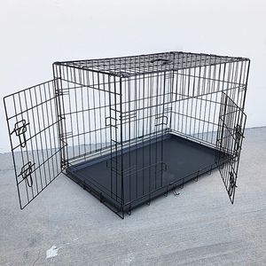 """$45 (new in box) double door 36"""" dog crate kennel metal folding pet cage plastic tray divider, 36x23x25 inches for Sale in Whittier, CA"""