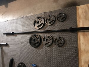 7 ft olympic bar with 80 lbs of olympic styled 2 inch weights for Sale in Plano, TX