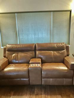 Power Leather Double Recliner Jeromes Power Head Rests And Lumbar Support for Sale in Jamul,  CA