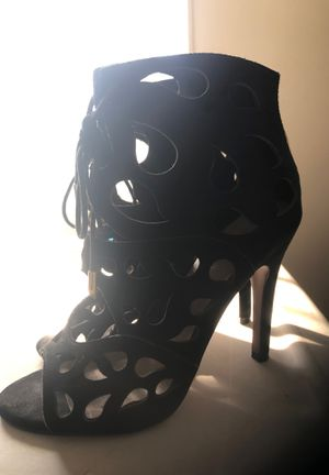 Black peep toe sandal boot gold tie straps size 7 for Sale in Silver Spring, MD